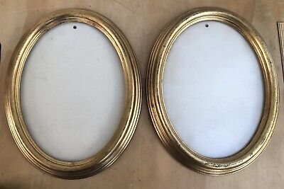 ANTIQUE / VINTAGE PAIR OF OVAL GILT PICTURE FRAMES WITH Anti Glare Glass