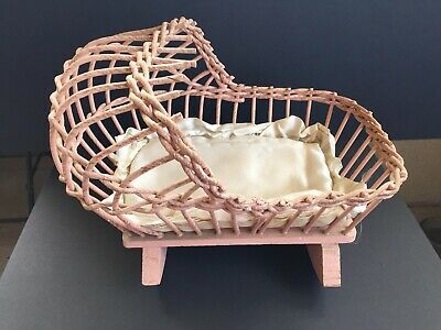 "Vtg 1940s Baby Doll Rocking Cradle Wood & Wicker 13"" L - Pale Pink. Make Offer."