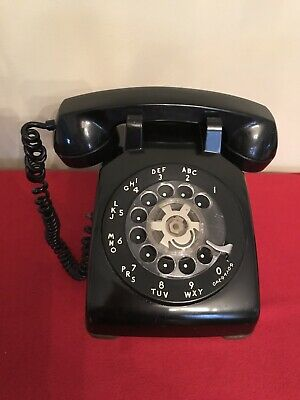Bell Telephone Vintage Clear Rotary Dial Black Desk Style Western Electric