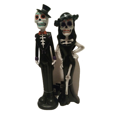 Mexican Day of Dead Couple Catrina and Catrin Decor Dressed Skeleton  Dolls