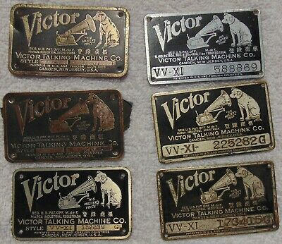 Lot of 6 Victor Victrola Phonograph ID Tags or Plates. VV-IX and VV-XI