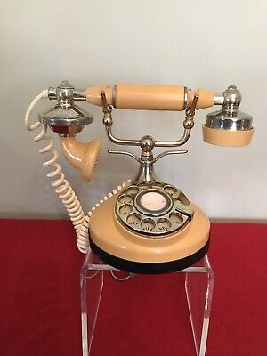 ITT Own-A-Phone Cameo Princess French Brass Rotary Dial Desk Phone Vintage 1970s