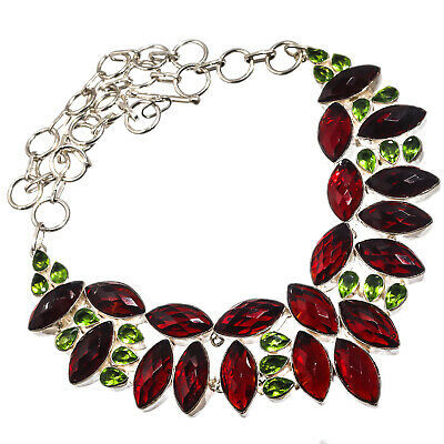 """Faceted Red Garnet Green Peridot Necklace 925 Silver Plated  Jewelry Sz16-18"""""""