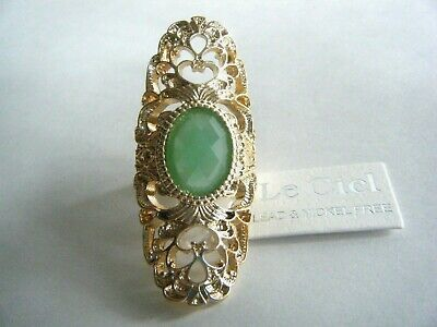 Adjustable Gold Tone Cocktail Costume Ring Green Faceted Stone New With Tag