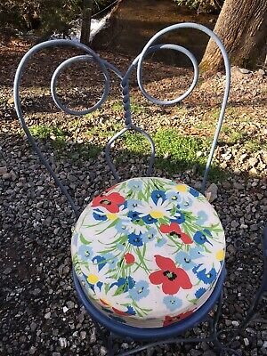 Vintage Antique Ice Cream Parlor Chairs Wrought Iron With Zippered Cushions