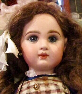 "Antique HUGE 27"" French Bisque Bebe Depose Tete Jumeau w/Great Outfit & HH Wig"