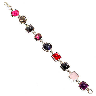 """Faceted Black Onyx Bracelet 925 Silver Plated Jewelry Sz7-8"""""""
