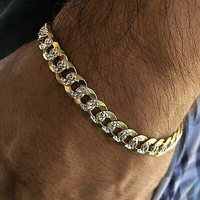 Diamond Cut Bracelet 14K Gold Plated On Solid 925 Sterling Silver Two Tone Cuban