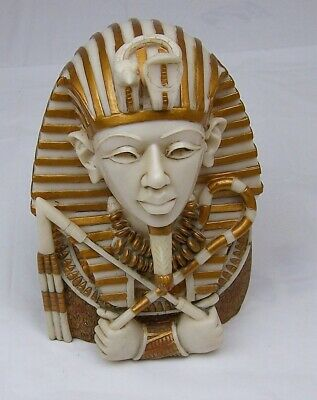 Vintage Egyptian Pharaoh King Bust Resin, Plastic,King Tut Falcon Cobra
