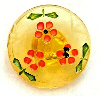 Antique Vtg BUTTON Clear Yellow Glass w red Dot Flowers  A15