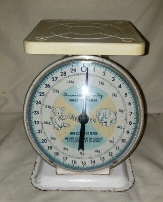 VINTAGE AMERICAN FAMILY BABY NURSERY SCALE, UP TO 30 LBS. Scale part only.