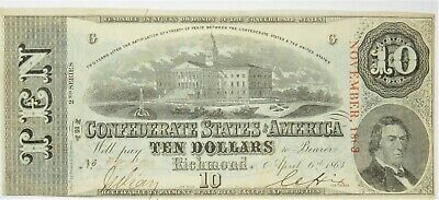 1863 $10 T-59 2nd Series Confederate States America CSA US Dollar Note 20770F