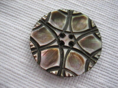"""Vintage Medium 1-1/16"""" Smokey Mother Of Pearl MOP Shell Carved Button PP104"""