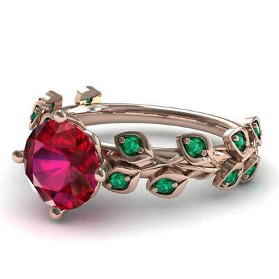 Gorgeous Rose Gold Filled Round Cut Ruby Leaves Women Jewelry Rings Size 6-10