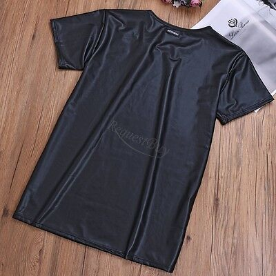 Men's Fit Casual T-Shirt Stretch Muscle Shirt Tops Slim Fit Undershirt Basic Tee