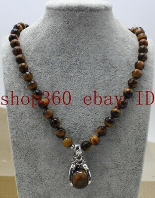 Pretty 8mm Natural Yellow Tigers Eye Gemstone Round Beads Pendant Necklace 18''