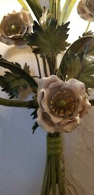 Italian tole electrical Roses Wheat sconce White Cabbage rose