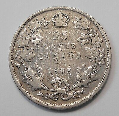 1905 Twenty-Five Cents VG-F Very NICE Better Date King Edward VII Canada Quarter