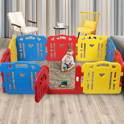 Baby Playpen 10 Panel Foldable Kids Safety Play Center Yard Fence Indoor/Outdoor