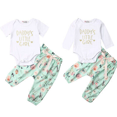 2PCS Newborn Kids Baby Girls Cotton Romper Tops Flower Pants Outfits Set Clothes