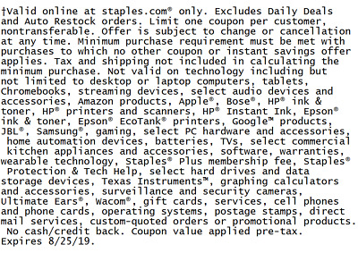 Online Staples Coupon $15 off $50 Expires Aug 25, 2019
