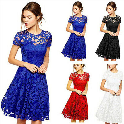 Womens Lace Mini Dress Ladies Evening Party Cocktail Bridesmaids Gown Plus Size