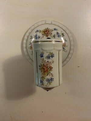 Vintage Electric Porcelain Wall Sconce, Lamp, Light Floral And Gold Decore