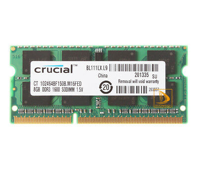 For Crucial 8GB 2Rx8 PC3-12800S SODIMM RAM Laptop Memory Intel DDR3L 1600Mhz OEM