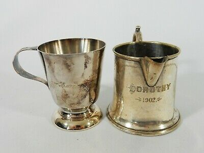 Antique 1902 Vintage Pair Lot Silver Plated Christening Mug Jug Dorothy Leonardo