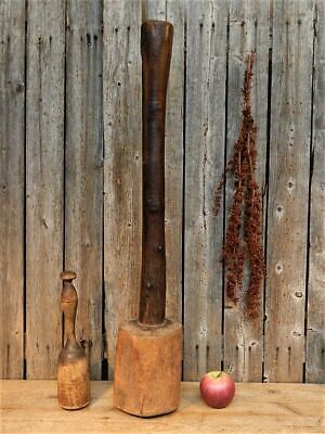 """AAFA HUGE Early Antique Primitive Wood Hand Carved Masher Tool """"29"""