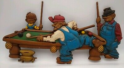 Vintage Retro Sexton 1971 Billiards Farmers Playing Pool Table Metal Wall Art