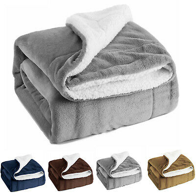 UK Soft Bedsure Sherpa Blanket Fleece Throw Reversible Blanket for Bed and Couch