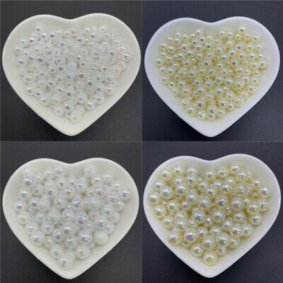 6mm 8mm 10mm ABS Acrylic Spacer Beads Round Pearl Loose Beads For Jewelry Making