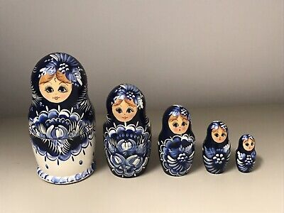 Hand Painted  Wood Russian Nesting Dolls Five Piece