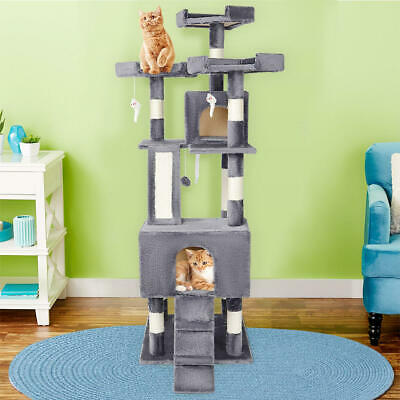 """Large 68"""" Cat Tree Scratcher Kitten Play House Condo Furniture Bed Post Pet +Toy"""