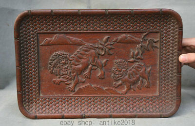 """14.4"""" Rare Old China Dynasty Huanghuali Wood Carved Lion Dog Beast Plate Tray"""