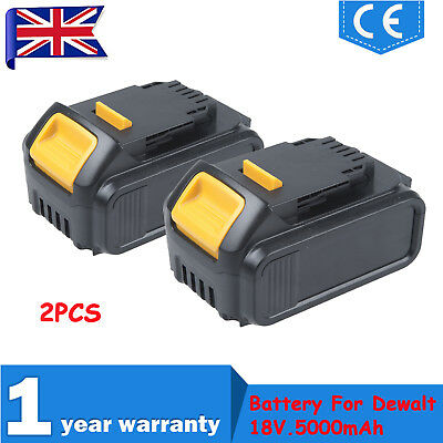 2PCS 18V Li-ion For Dewalt DCB184 DCB182 18v XR 5Ah Lithium-ion Slide Battery UK