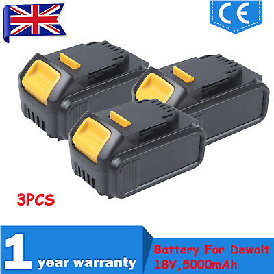 3PCS 18V Li-ion For Dewalt DCB184 DCB182 18v XR 5Ah Lithium-ion Slide Battery UK