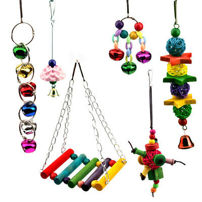 6Pcs Bird Parrot Swing Toy Hanging Bell Ladders Climbing Chewing Hanging Toy AU