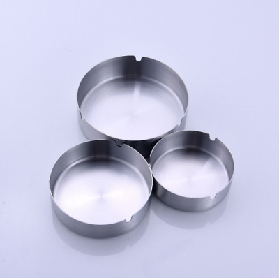 Round Stainless Steel Unbreakable Cigarette Ashtray Office Decoration Bottom