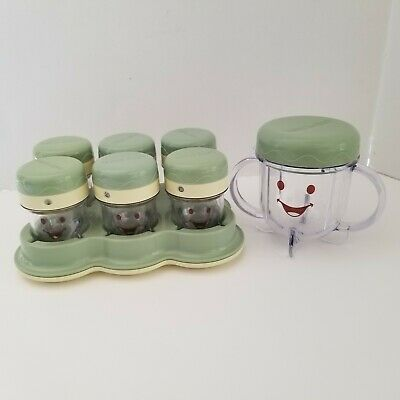 Baby Bullet Date Dial Storage Cups w Lids Tray 2-Handle Cup Replacement Parts