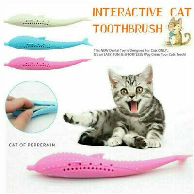 Cat Toothbrush With Catnip Silicone Cat Molar Stick Cat Teeth Cleaning Pet Toys