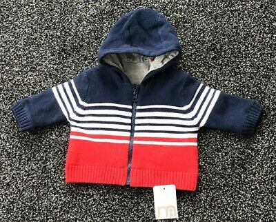 Mothercare Baby Boys Lined Knitted Jacket Up To 1 Month New With Tags