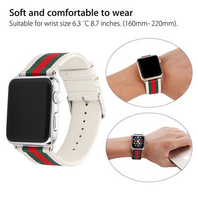 For Apple Watch Series 5 4 3 21 Leather Watch Band Strap Bracelet+Classic Buckle