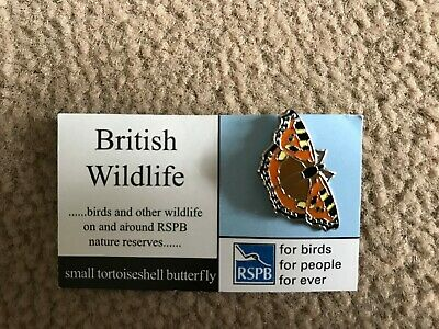 RSPB Badge small tortoiseshell butterfly on British Wildlife Card