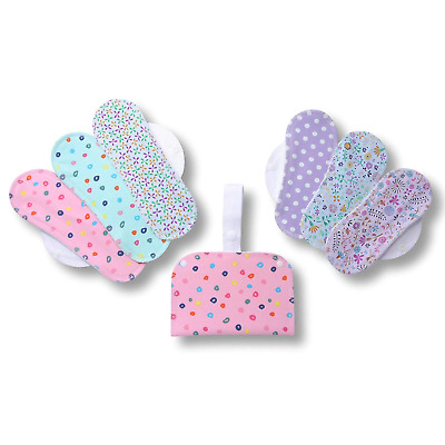 Reusable Menstrual Pads, 6-Pack Cotton Reusable Sanitary Pads with Wings Size S