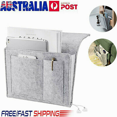 Sofa Bedside Storage Caddy Hanging Bag Felt Organizer Pocket Book Holder Home