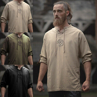 Medieval Men Linen Embroidery Shirt Tunic Ancient Viking Top Cosplay Costume-AU