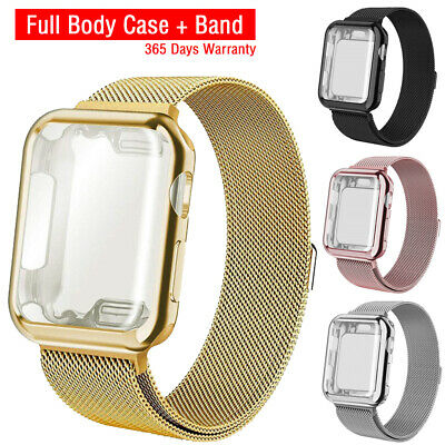 For Apple Watch 5/4 Steel Band Strap with Screen Protector Case iWatch 40mm/44mm