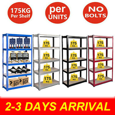 Heavy Duty Garage Racking Storage Shelving Units Boltless Metal Shelves 5 Tier